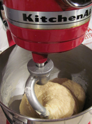 Mixing the dough in our Kitchen-Aid Mixer